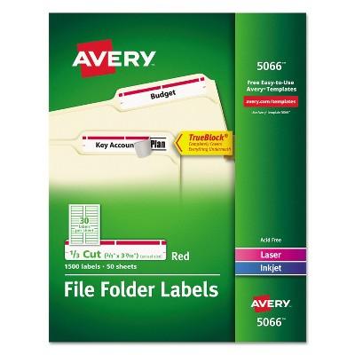 Avery Permanent File Folder Labels TrueBlock Inkjet/Laser Red 1500/Box 5066