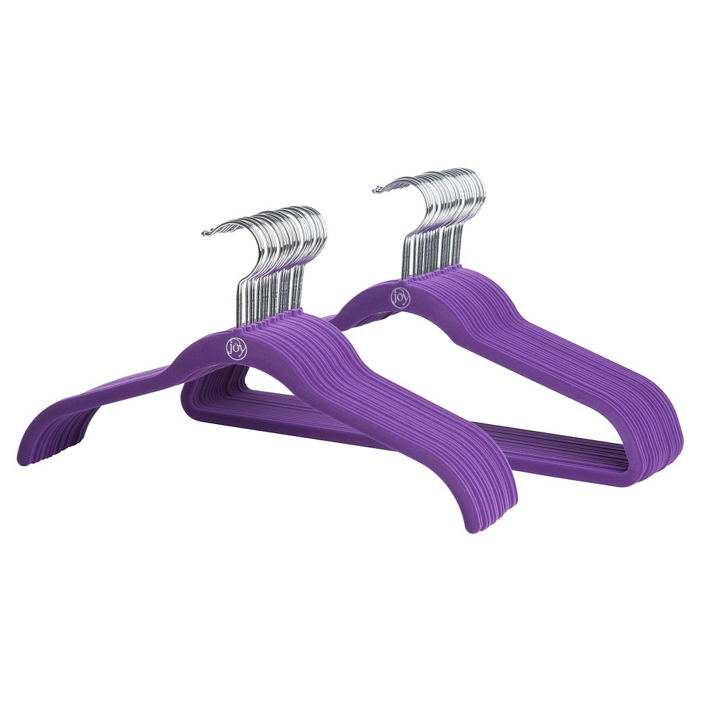 40pk Huggable Hanger - Purple Huggable Hangers are sturdy enough for heavy winter coats yet gentle enough for delicate dresses. These clothes hangers have curved ends designed to preserve your clothing's shape. Color: Purple. Pattern: Solid.