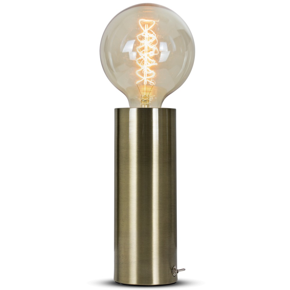 "Image of ""14"""" Gold Brass Metal Table Lamp - Crystal Art"""