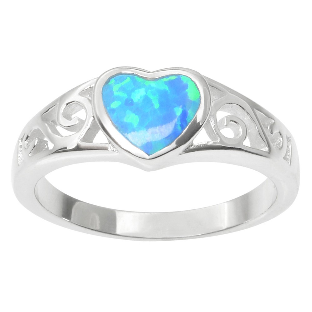 1/6 CT. T.W. Heart-cut Opal Inlaid Heart Ring in Sterling Silver - Blue, 9, Girl's