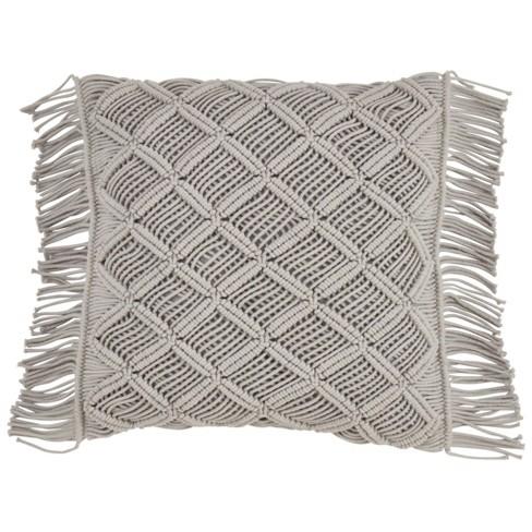 """18""""x18"""" Macramé Print Down Filled Square Throw Pillow - Saro Lifestyle - image 1 of 4"""