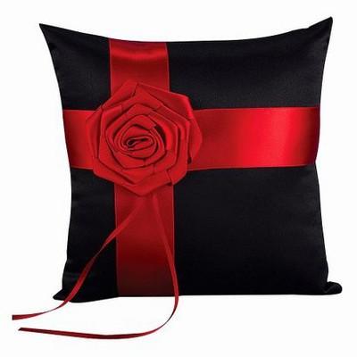 Midnight Rose Wedding Collection Ring Bearer Pillow - Black