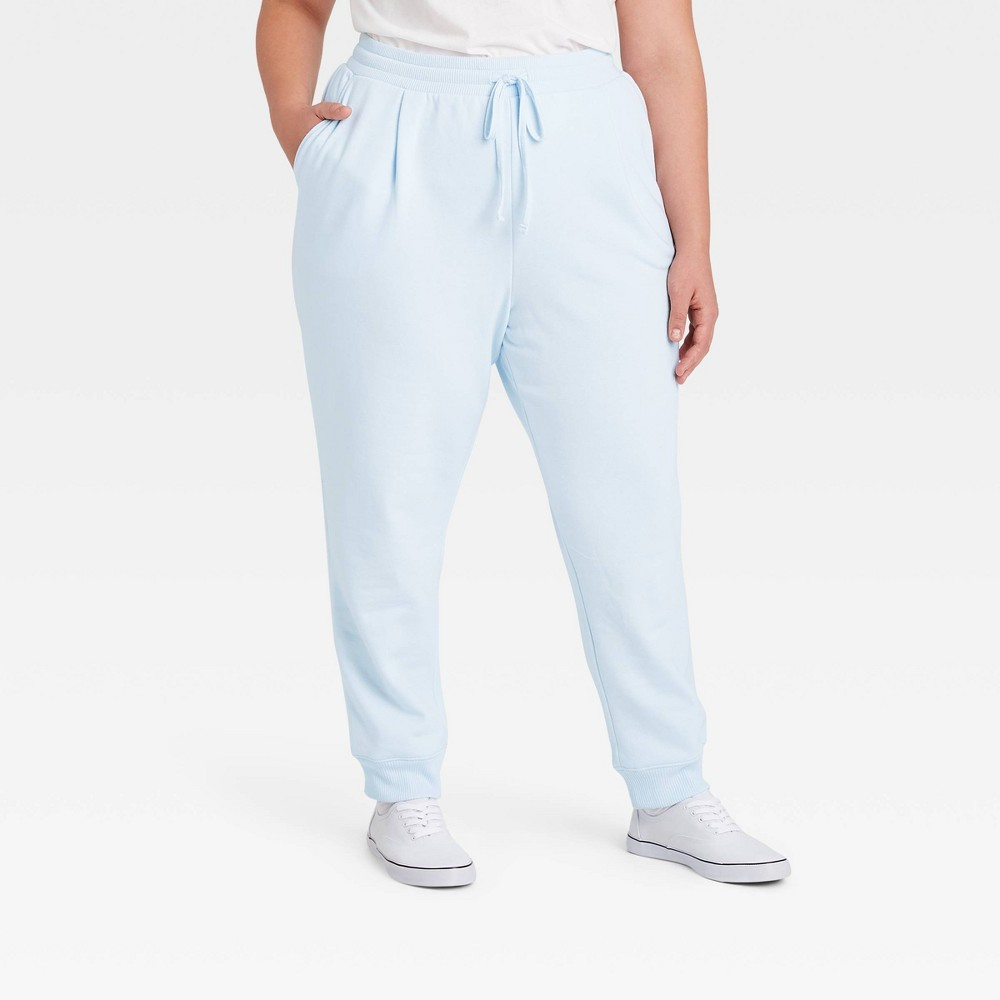 Women 39 S Plus Size High Rise Ankle Jogger Pants A New Day 8482 Blue 1x