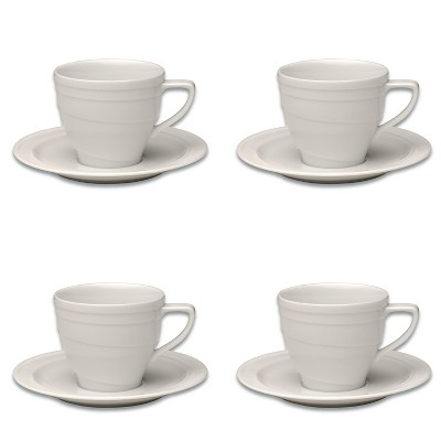 BergHOFF Essentials 6Oz Porcelain Cup and Saucer, Set of 4
