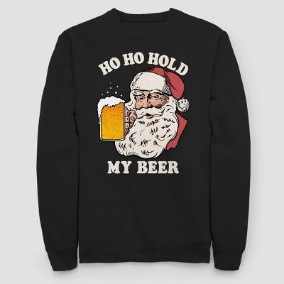 Men's Santa Beer Pocket Holiday Fleece Sweater   Black by Fifth Sun