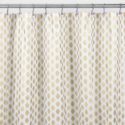 "mDesign Diamond Print - Easy Care Fabric Shower Curtain - 72"" x 84"" - Gold/White"