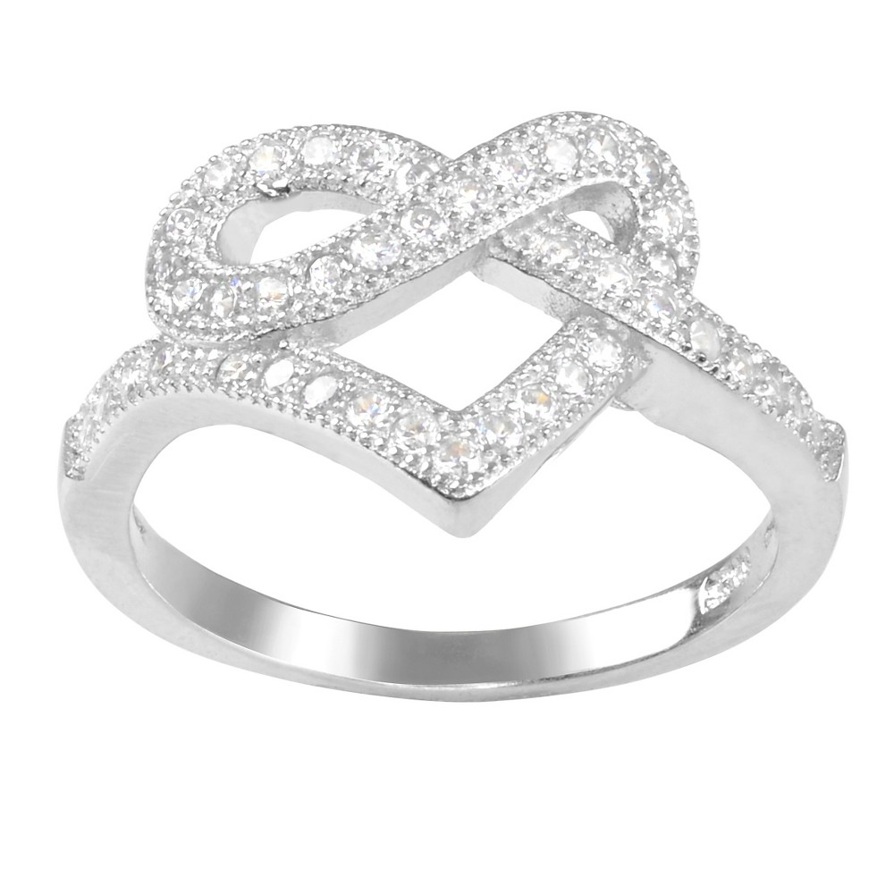 1/10 CT. T.W. Round-Cut CZ Pave Set Heart Knot Ring in Sterling Silver - Silver, 7, Girl's