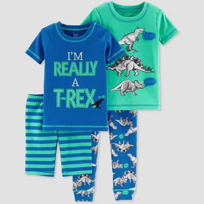 Baby Boys' 4pc Cotton T-Rex Pajama Set - Just One You® made by carter's Blue 9M