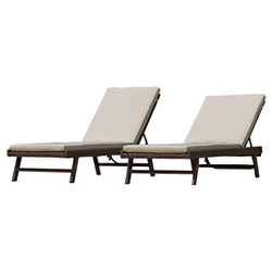Waveland Set of 2 Wicker Patio Chaise Lounge with Cushion - Brown - Christopher Knight Home