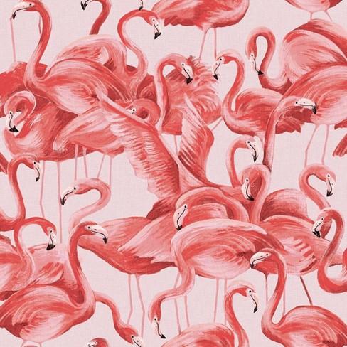Flamingo Self-Adhesive Removable Wallpaper Pink - Tempaper ...