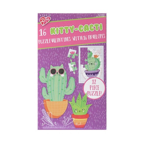 Kitty Cacti 16ct Puzzle Valentines With Envelopes - image 1 of 1