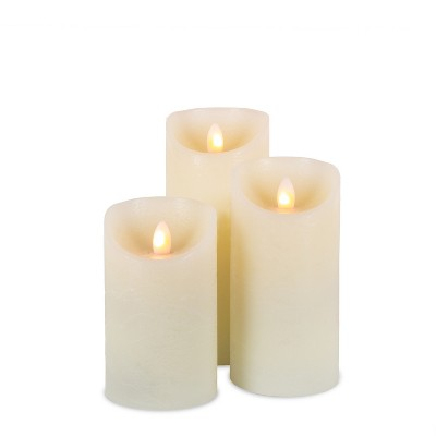 Everlasting Glow Set of Three 3 Bisque LED Pillar Candles with Aurora® Flame and Remote Control