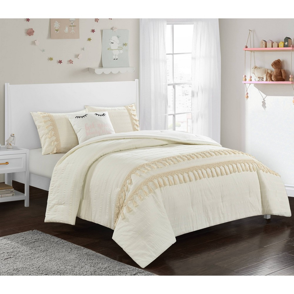 Image of Full/Queen Floral & Fringe Comforter Set Off-White - Heritage Club