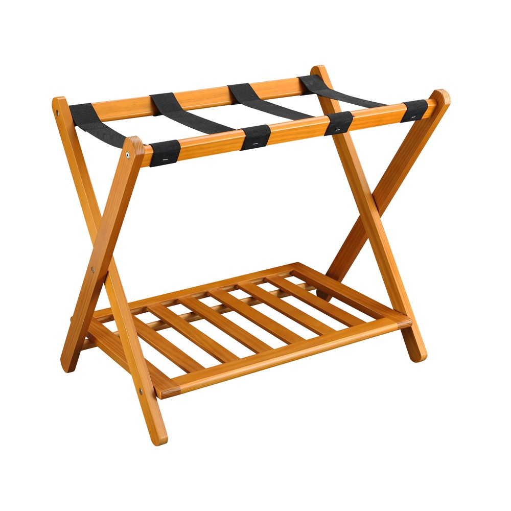 Image of Luggage Rack with Shelf Oak Honey Brown - Flora Home