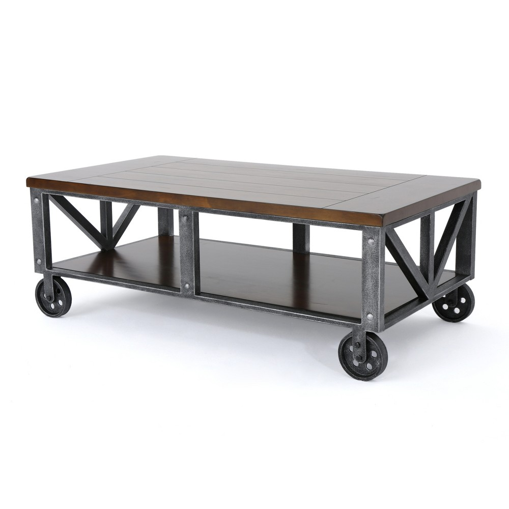 Dree Industrial Coffee Table Dark Brown - Christopher Knight Home
