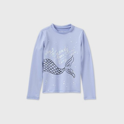 Girls' Long Sleeve Mermaid Tail Rash Guard Swim Shirt - Cat & Jack™ Lilac