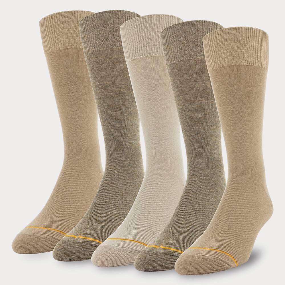 Image of Signature Gold by GOLDTOE Men's Flatknit Crew Socks 5pk - Khaki 6-12, Men's, Green