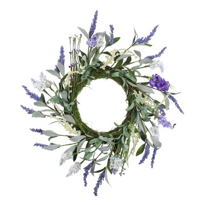 Northlight Green and Purple Twig Artificial Floral Wreath, 16-Inch - Unlit