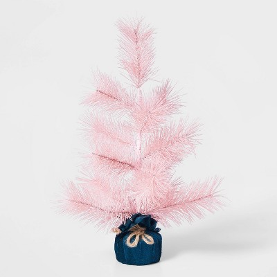16in Unlit Frosted Pink Artificial Christmas Tree with Velvet Wrapped Base - Wondershop™