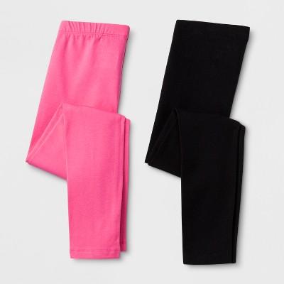 Girls' Solid 2pk Leggings - Cat & Jack™ Pink/Black