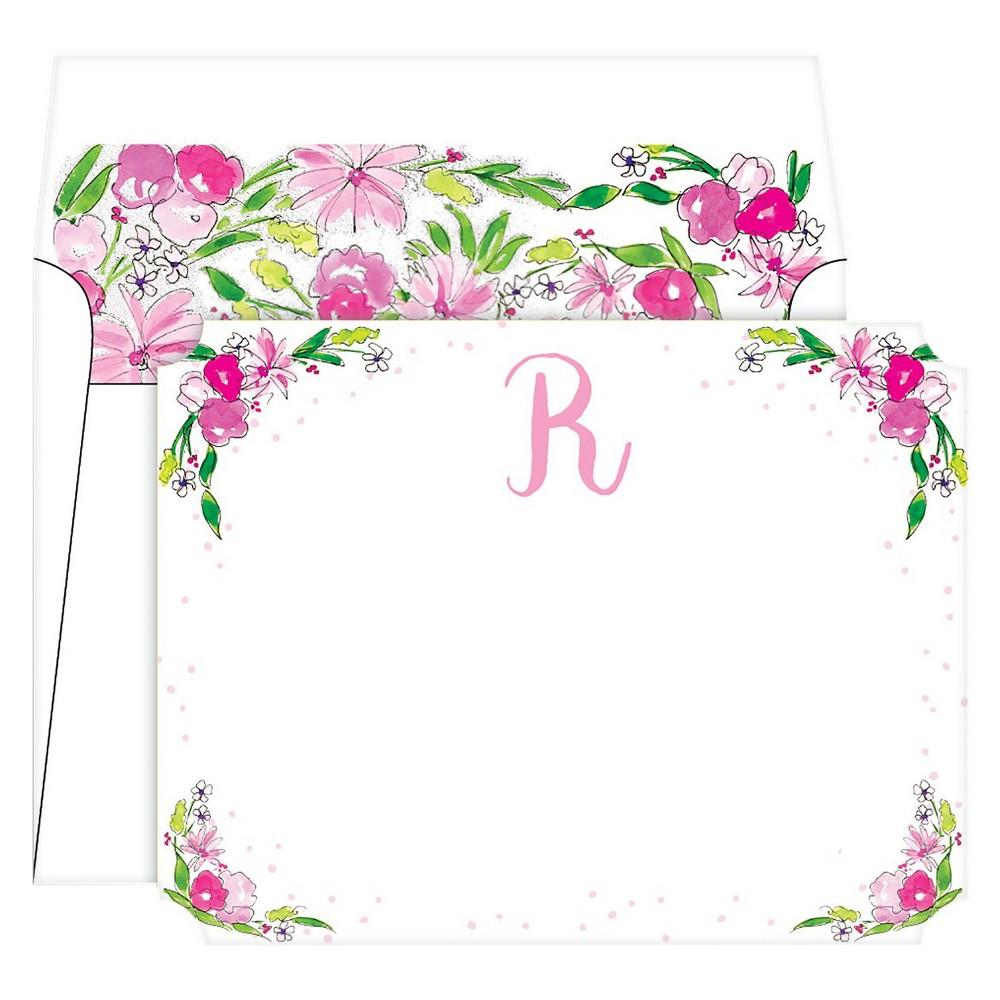 Die-Cut Social Set Floral Crest Monogram - R, Multicolored