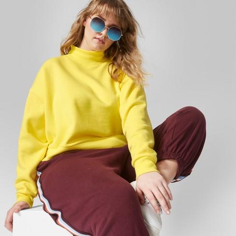 f5fe06c42e4fd Women s Plus Size Cropped Mock Neck Sweatshirt - Wild Fable™ Plus Size  Vibrant Yellow