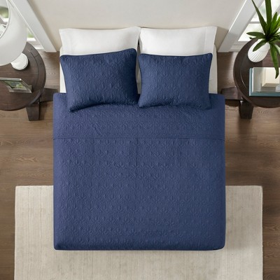 Vancouver Quilted Coverlet Set (Full/Queen)Navy - 3-Piece