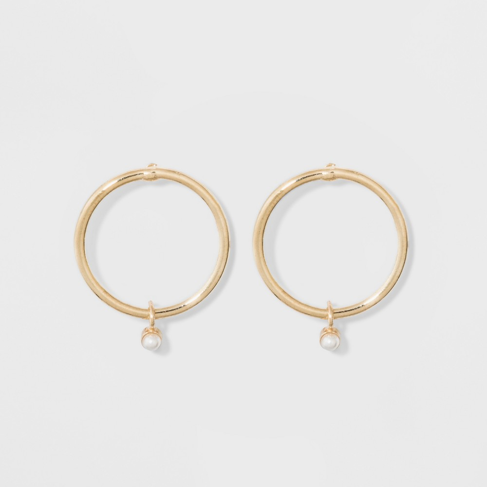 Circle Hoop Earrings - A New Day Pearl/Gold