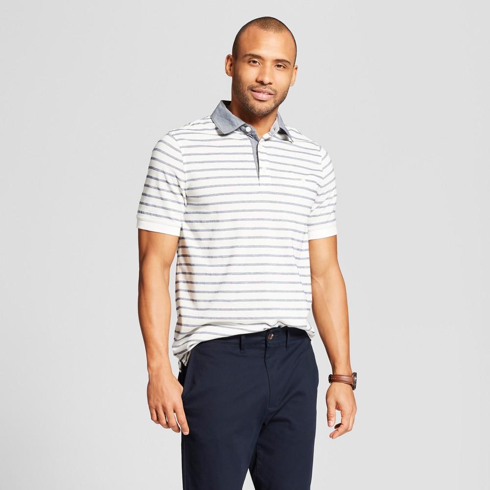 Men's Striped Short Sleeve Polo Shirt - Goodfellow & Co Jamestown Blue 2XL