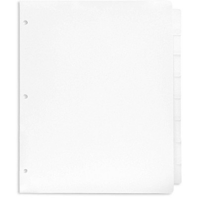 Paper Junkie 12 Sets White 3 Ring Cardstock Paper Binder Dividers with 8 Tabs, 9.5 x 11 in