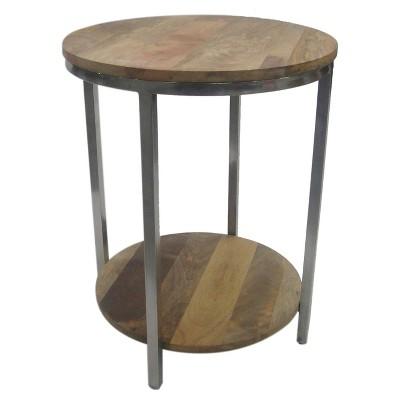 Berwyn End Table Metal And Wood Rustic Brown  Threshold