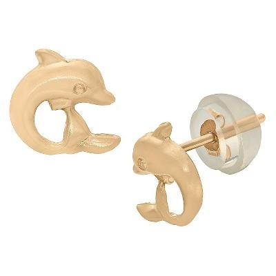 Tiara Kid's Dolphin Stud Earrings in 14K Gold