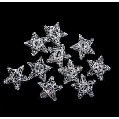 Penn 10 Battery Operated Clear LED Spun Glass Star Christmas Lights
