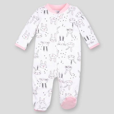 Lamaze Baby Girls' Organic Cotton Bunny Sleep N' Play - Blush Pink 0-3M