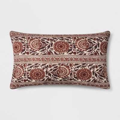Floral Oversized Lumbar Throw Pillow Berry - Threshold™