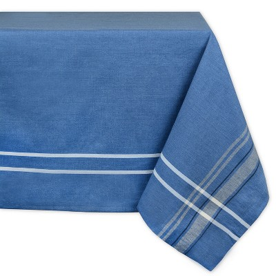 104 x60  French Stripe Chambray Tablecloth Blue - Design Imports