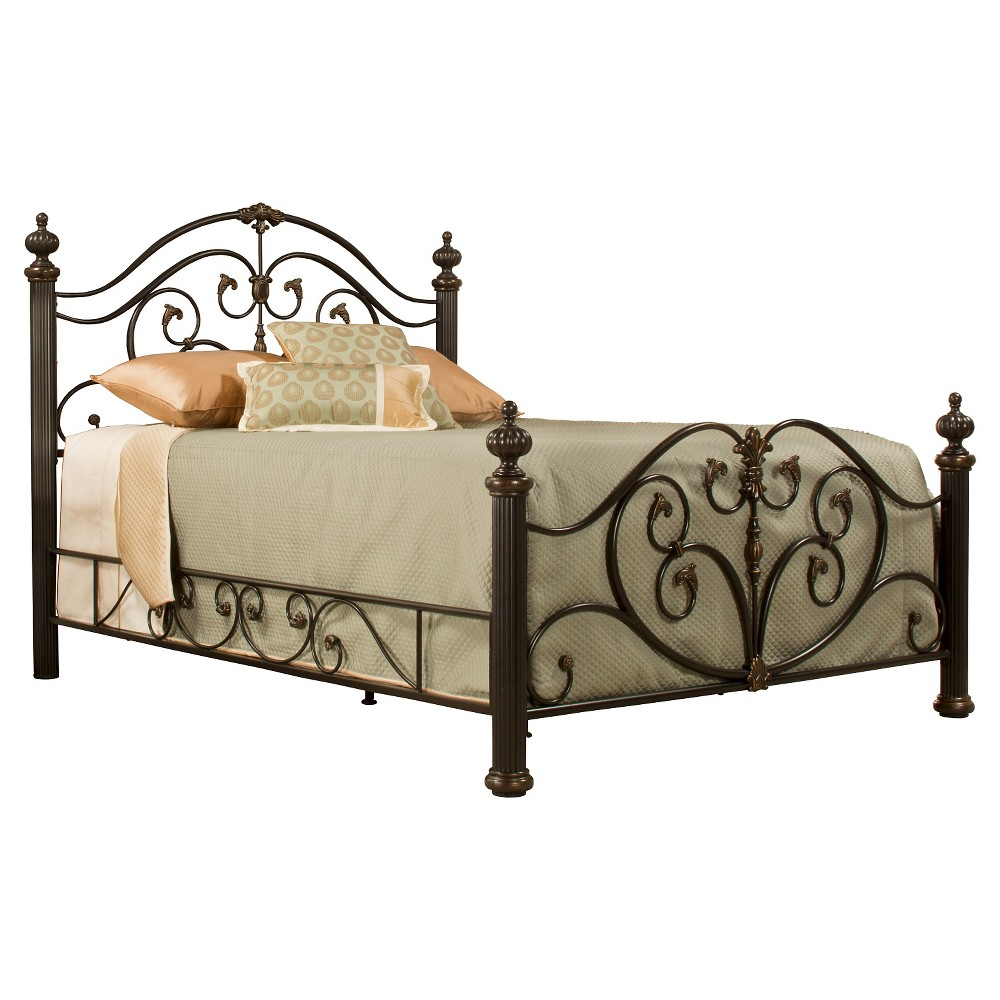 Grand Isle Bed with Rails - Brushed Bronze(Queen) - Hillsdale Furniture, Grey
