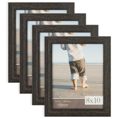 """4pc (8"""" x 10"""") Rustic Tabletop or Wall Mount Picture Frames Distressed Black - Life Moments"""