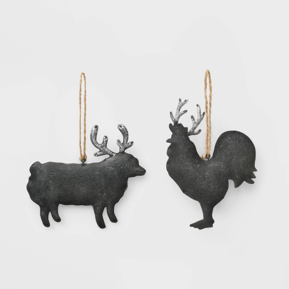 Image of 2ct Sheep and Rooster Metal Christmas Ornament - Wondershop , Black