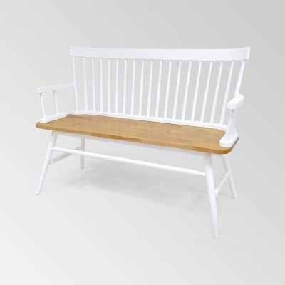 Maharis Farmhouse Bench White/Natural - Christopher Knight Home