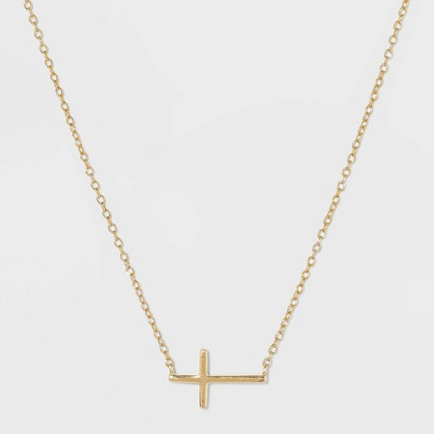 Sterling Silver Horizontal Cross Station Necklace - Gold - image 1 of 2