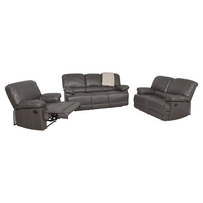 Lea 3pc Brownish - Gray Bonded Leather Reclining Sofa Set - Corliving