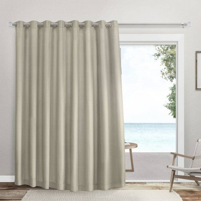 """100""""x96"""" Sateen Twill Woven Room Darkening Blackout Wide Patio Grommet Top Single Curtain Panel - Exclusive Home"""