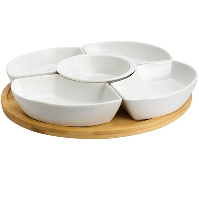 6pc Stoneware Beautiful Rounds Party Serving Set White - Elama