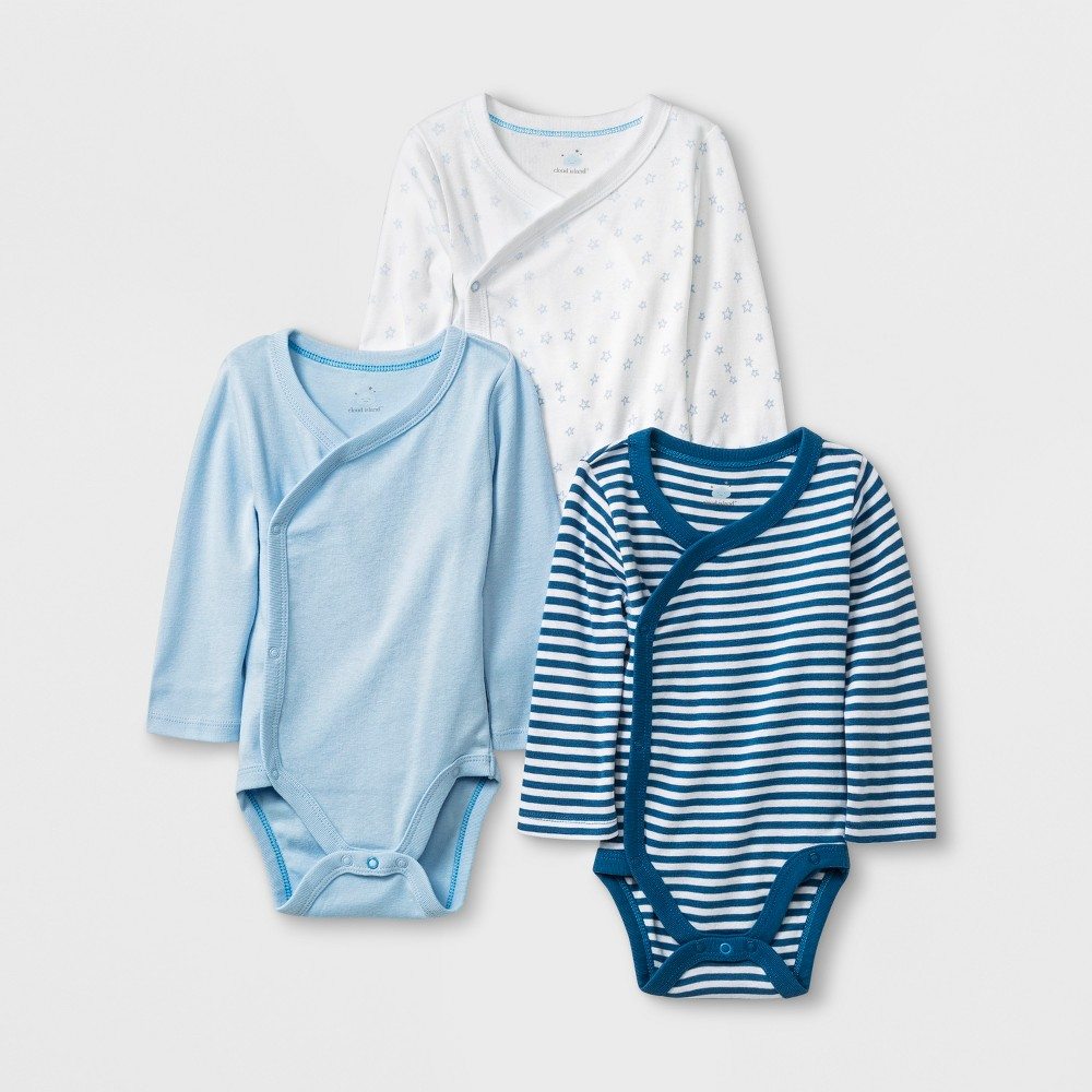 Image of Baby Boys' 3pk Side Snap Bodysuits - Cloud Island 12M, Boy's, Blue