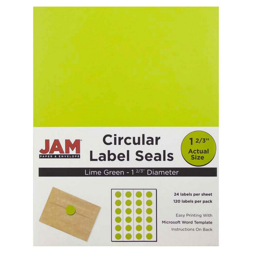 Jam Paper Circle Sticker Seals 1 2/3 120ct - Lime Green Jam Paper Round Circle Label Sticker Seals measure 1 2/3 inches in diameter and are sold on sheets of 24 labels. Each pack contains 5 sheets for a total of 120 labels per pack! These labels feature a light, soft, and inviting baby blue color that will give a peaceful and calm look to your mail. These labels are great for reinforcing envelopes, creating small price tags for yard sales, marking mail or items with initials, and more! Compatible with most printers, these labels can be customized in your own office or home. Additionally, they are easy to write on with most kinds of pens and markers. Try these round labels for your home or office needs. Color: Lime Green. Age Group: Adult.