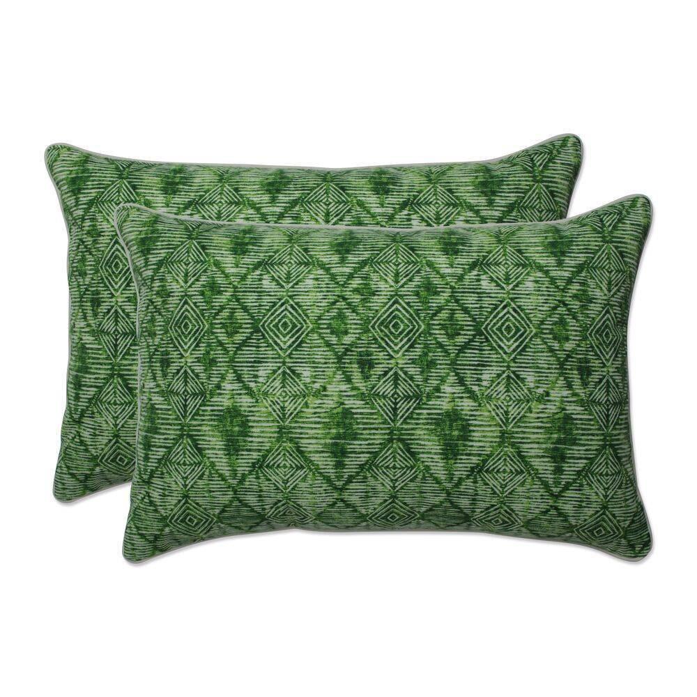 2pc Outdoor Indoor Oversized Rectangular Throw Pillow Set Nesco Palm Green Pillow Perfect