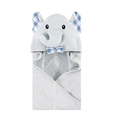 Hudson Baby Infant Boy Cotton Animal Face Hooded Towel, Gingham Elephant, One Size