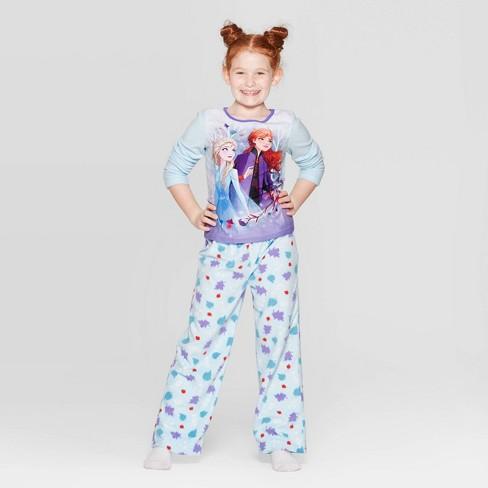 Girls' Frozen 2pc Fleece Pajama Set - Blue - image 1 of 3