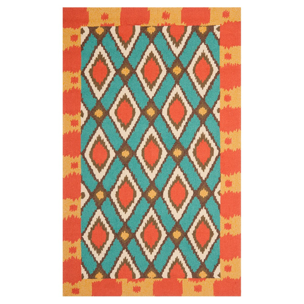 Light Blue/Red Abstract Woven Area Rug - (8'X10') - Safavieh